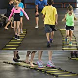 UPOWEX Pro Agility Ladder Speed Agility Training Ladder with Carry Bag for Soccer Speed Training, Coordination, Footwork, Explosiveness 12 Rung Speed Ladder and 4 Stakes