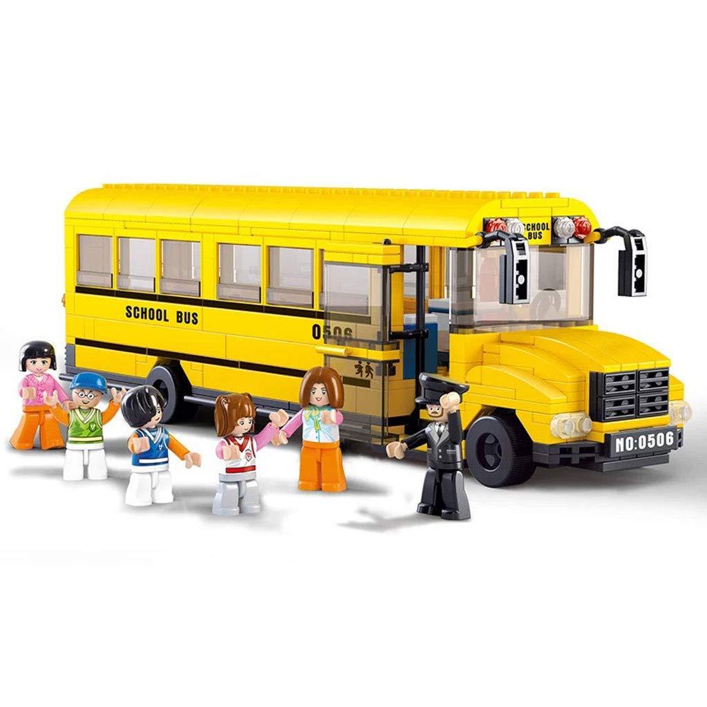 シティースクールバス、キッズビルディングブロックおもちゃ、ビルディングブロック、ビルディングゲーム、6ドール、ビルディングキット(382ピース)   B07LH2Z6QK