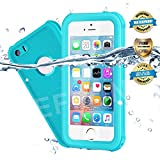 EFFUN Waterproof iPhone 5/5S/SE Case, IP68 Certified Waterproof Underwater Cover Dustproof Snowproof Shockproof Case with Cell Phone Holder, PH Test Paper, Stylus Pen and Floating Strap Aqua Blue