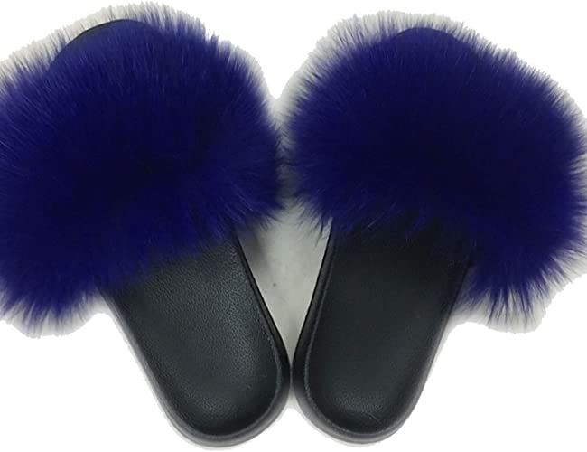 Blue//Black//Silver Multicolor Real Fox Fur Slides Slippers Flat Sandals Shoes