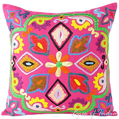 Eyes of India 16'' Pink Colorful Decorative Embroidered Sofa Cushion Couch Pillow Throw Cover Boho Indian Bohemian by Eyes of India
