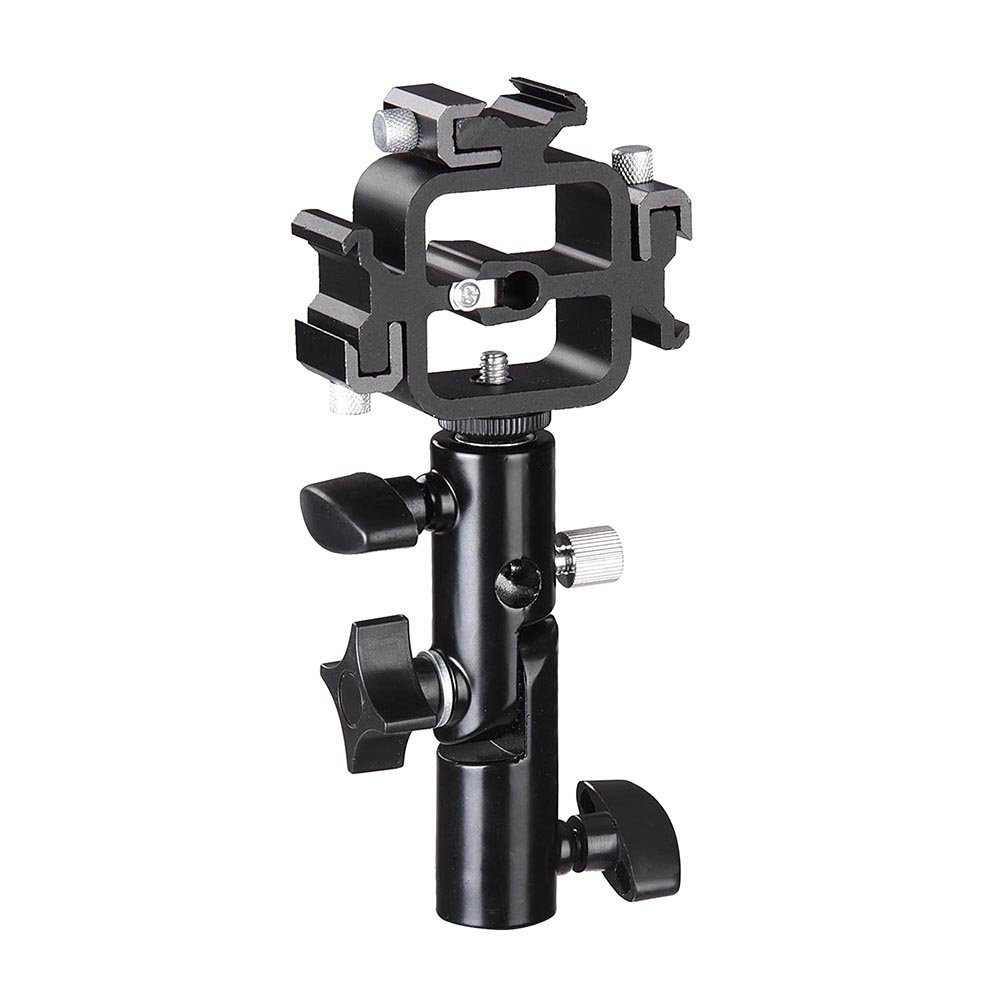 Triple Hot Shoe Mount Adapter Flash Light Stand Umbrella Holder Bracket Swivel