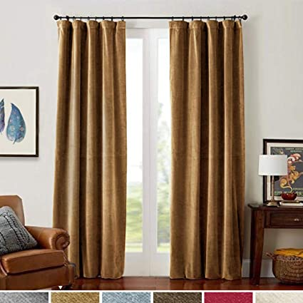 Velvet Curtains 84 inches Long Gold Brown Living Room Darkening Window  Treatment Set Rod Pocket Bedroom Curtain Panels Back Tab 2 Panels Drapes