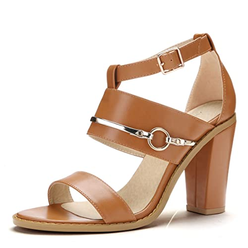 5175b39c3f626 Allegra K Women s Open Toe Chunky High Heel Ankle Strap Sandals (Size US 6)