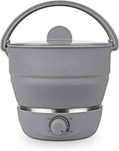 Electric Cooking Pot Multifunction Portable Electric Skillet Mini Hotpot Noodles Rice cooker Foldable Camping Egg Steamer Pan Soup Pot 110V/220V (Color : Grey)