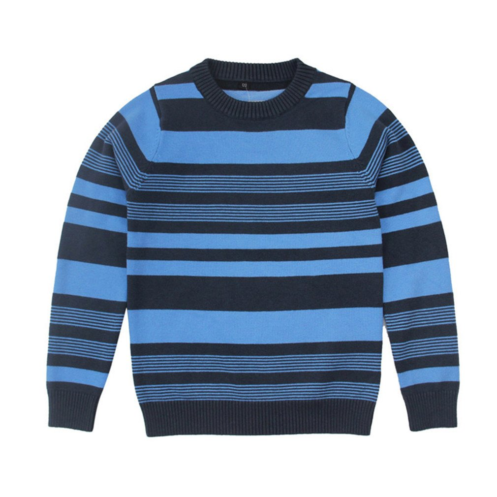 Winyersnow Children Clothing for Boy Striped Long Sleeve Knit Sweaters Pullover Navy 7