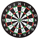 Dart Board with 6 Brass Darts Double-sided Flocking Dartboard Tip Room Game Family Room