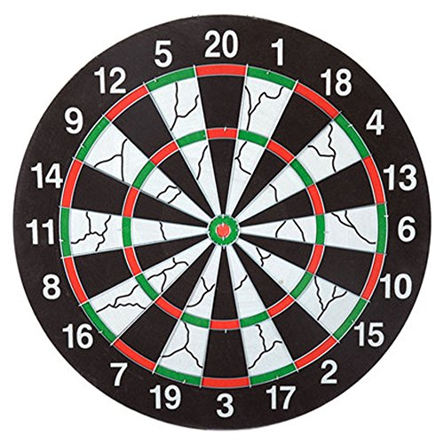 Dart Board with 6 Brass Darts Double-sided Flocking Dartboard Tip Room Game Family Room by Retsam