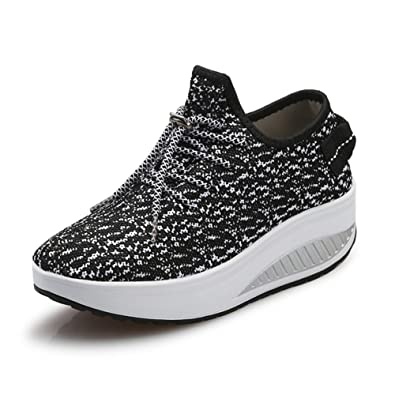 f5686060571 JARLIF Women s Platform Canvas Walking Sneakers - Comfortable Lightweight  Lace-up Fitness Shoes Black US5