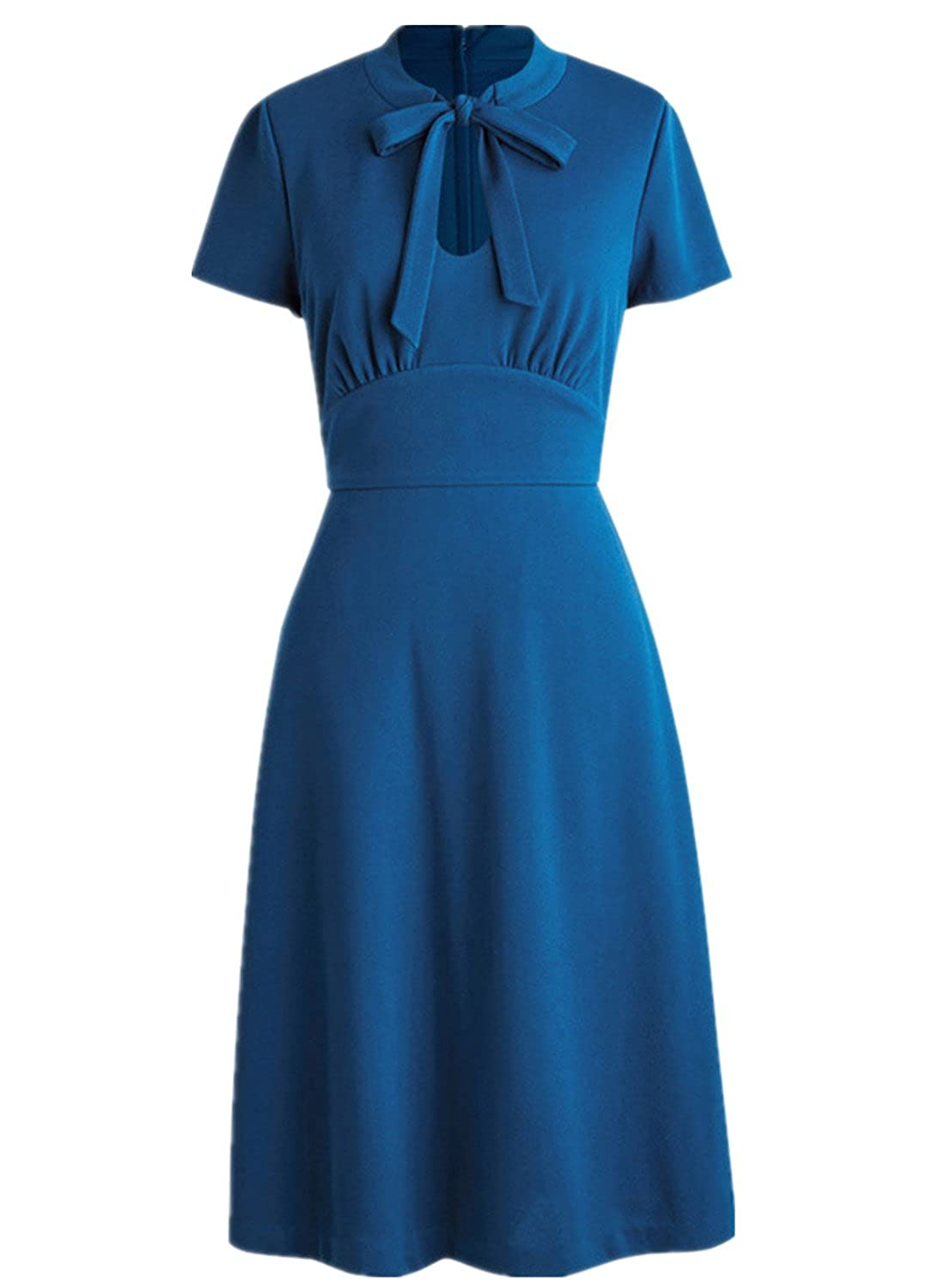 1940s Plus Size Dresses | Swing Dress, Tea Dress Wellwits Womens Keyhole Bow Tie Front 1940s Vintage Collared Dress $23.99 AT vintagedancer.com