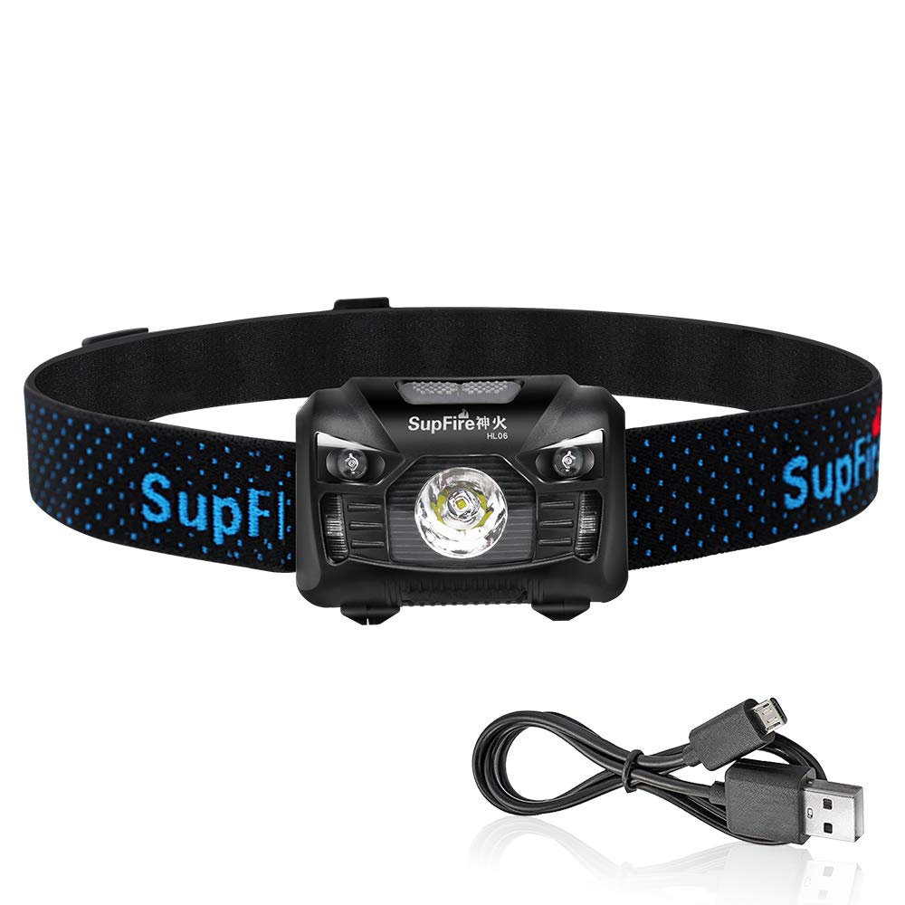 Rechargeable Headlamp,Supfire Motion Sensor Head Lamp Built-in Battery Cree Led 500 Lumens Hands Free Headlight Comfortable Elastic Headband Brightest Lamp 5 Modes Perfect for Night Fishing Inspection