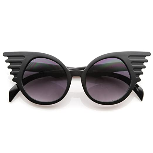 1987ebe0059ae Designer Inspired Fashion Eccentric Unique Round Circle Winged Sunglasses  (Black)