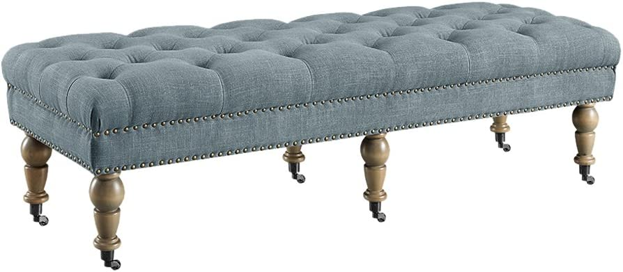 Linon Traditional Bench in Gray