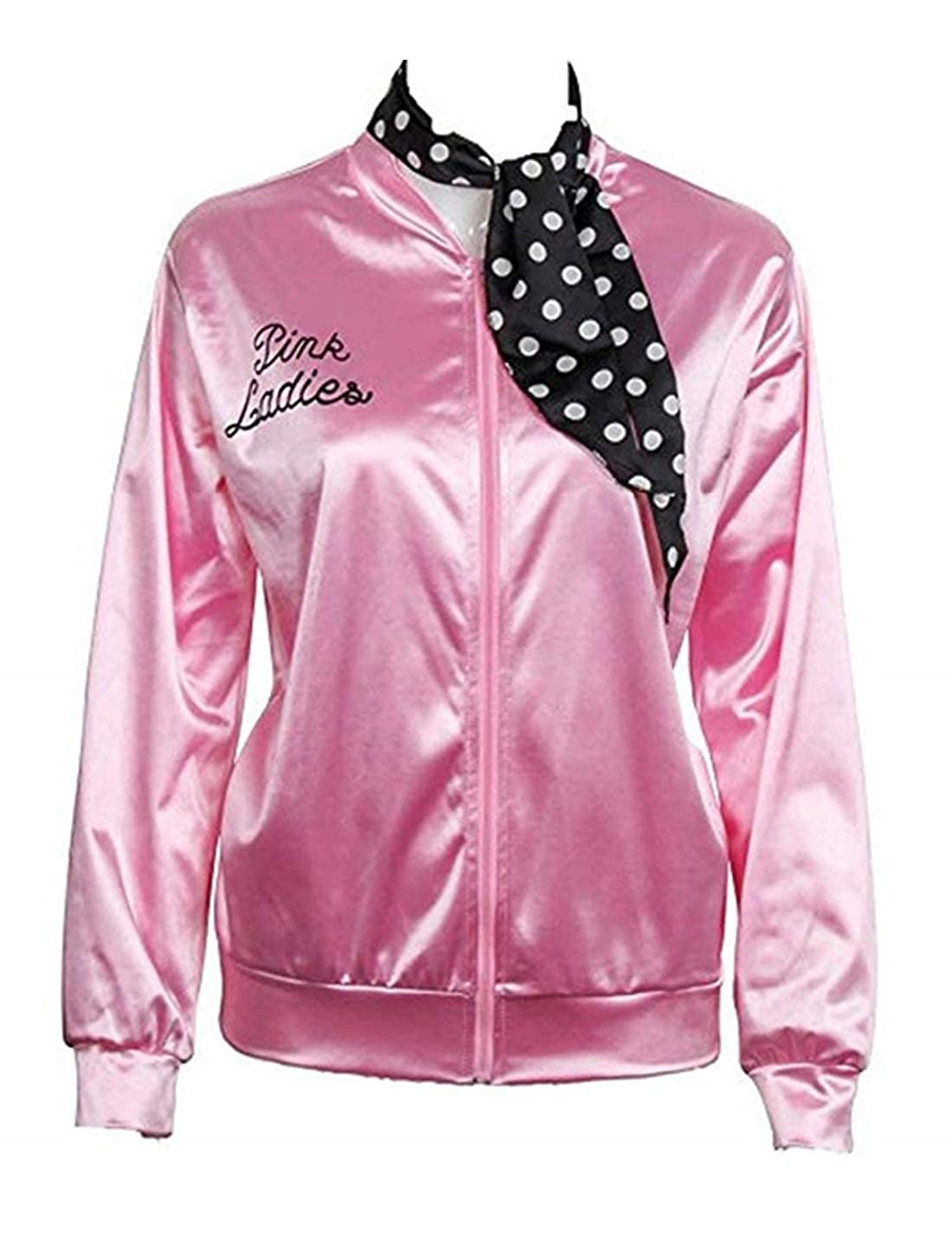 CAIYING Ladies 50S Grease T Bird Danny Pink Satin Jacket Halloween Cosplay Costume with Polka Dot Scarf