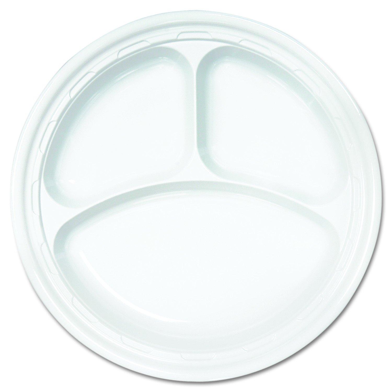 Dart 10CPWF Famous Service Plastic Dinnerware, Plate, 3-Comp, 10 1/4'' dia, White, 125 per pack (Case of 500)