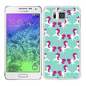 Funda carcasa para Samsung Galaxy Alpha estampado estrellas con unicornios blanco y rosa borde blanco