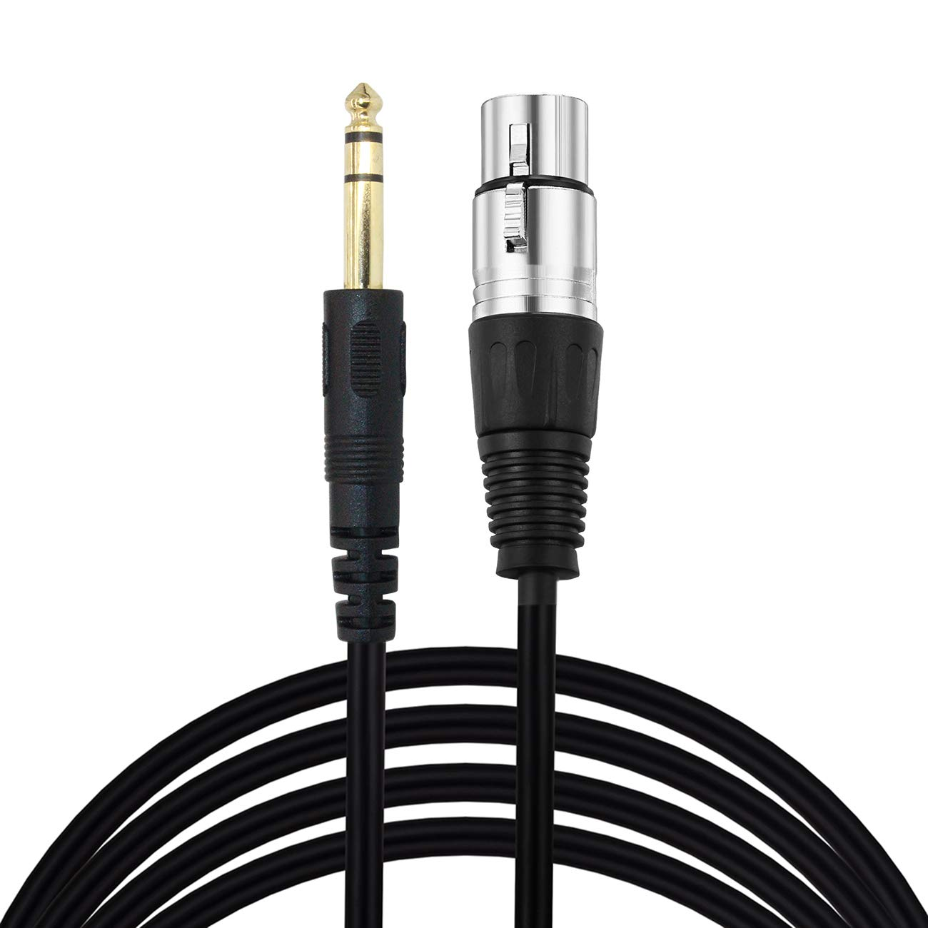 LiuTian XLR 3Pin Female to 6.35mm Mono Male 1/4 inch Audio Cable, XLR Female to 6.35mm 1/4'' Male Stereo Mic Audio Converter Adapter Cable, 30Feet / Black by LiuTian