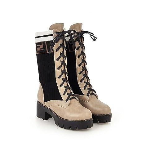 Botas para Mujer Locomotora Martin Botas Calzas Cortas Calcetines Botas Fondo Plano: Amazon.es: Zapatos y complementos