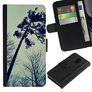 EuroTech - Samsung Galaxy S5 V SM-G900 - Tree Autumn Somber Forest Sky Dark - Cuero PU Delgado caso Billetera cubierta Shell Armor Funda Case Cover Wallet Credit Card
