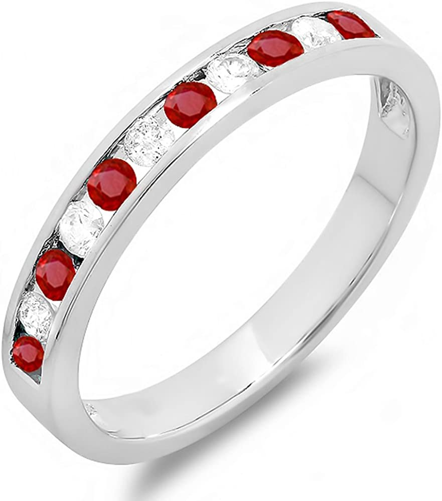 Dazzlingrock Collection 14k Round Ruby /& White Diamond Ladies Anniversary Wedding Stackable Band Swirl Ring White Gold