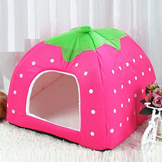 BLILI Cute Winter Warm Tent House for Pet, Strawberry Shape House, Wear-Resistant, No Hair Off and Antistatic