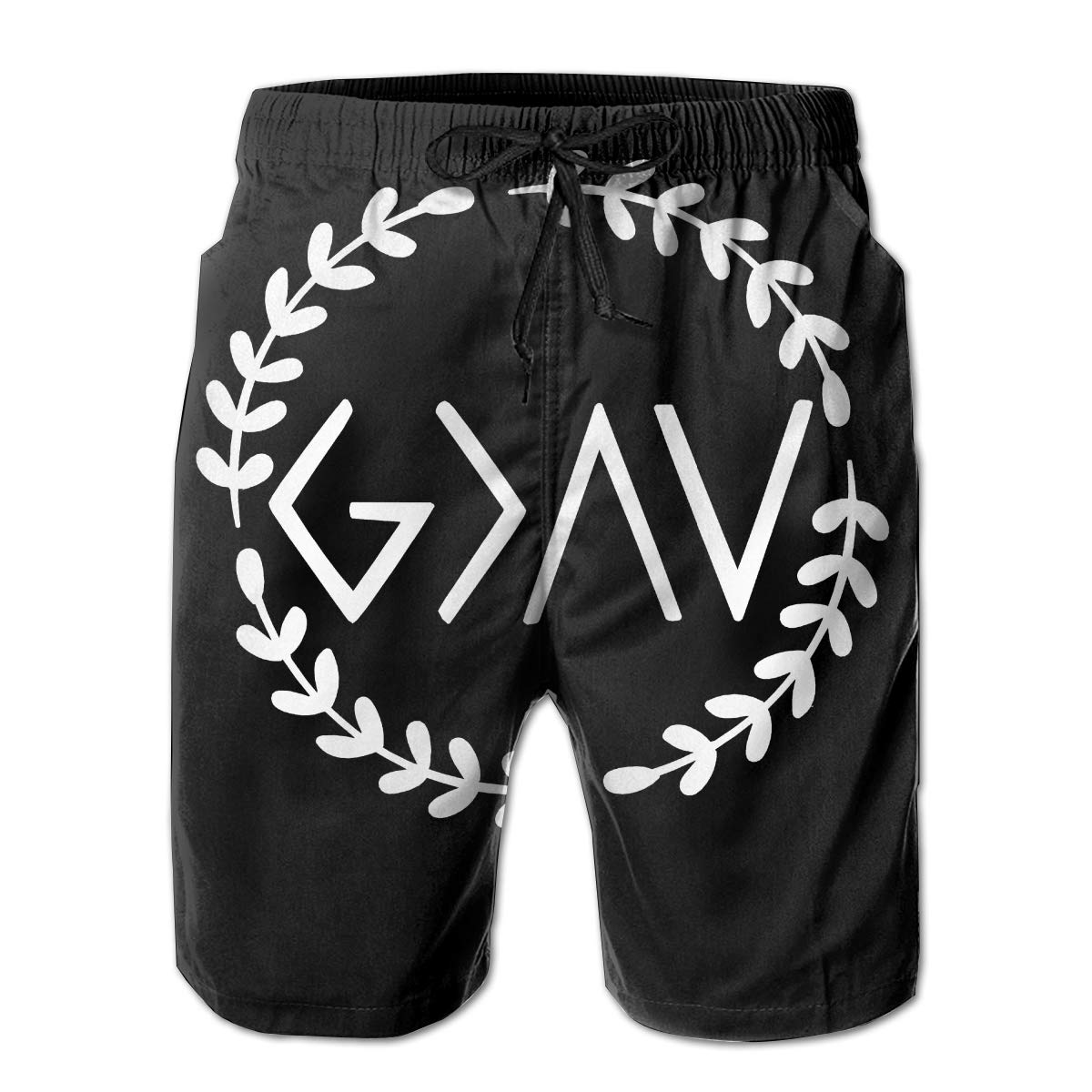 Eofjbg Fashion Mens God is Greater Than The Highs and Lows Beach Shorts Board Shorts Casual Shorts Swim Trunks