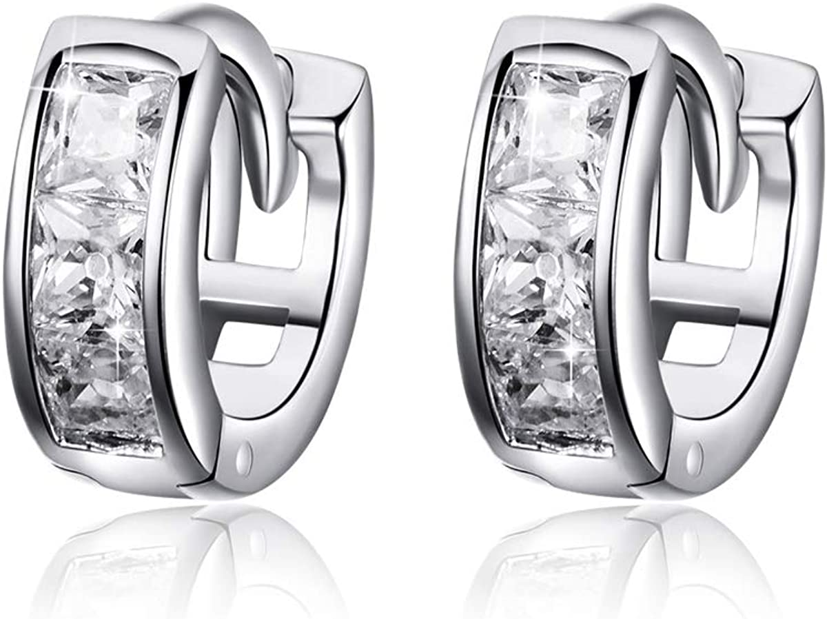 Hypoallergenic Sterling Silver for Ladies Aeon Sleeper Hoop Earrings with Knot Design for Women Ladies Girls C Silver Earrings for Women