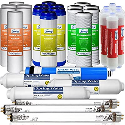 iSpring F31KU75 3-Year Filter Set for 7-Stage UV Alkaline Reverse Osmosis Water Filter, Fits iSpring RCC7AKUV (31pcs 6SED 6GAC 6CTO 3T33 1MC7 3UV 6AK)