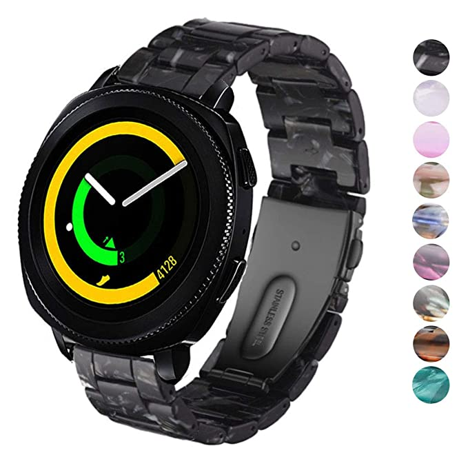 DELELE for Samsung Gear Sport/Gear S2 Classic/Galaxy Watch 42mm, 20mm Colorful Resin Replacement Strap with Steel Buckle for Samsung Gear Sport/Galaxy ...