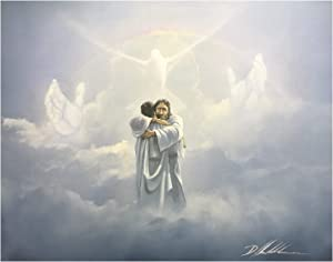 US Art Unframed Print Jesus Hug (Dove/White Religious/Jesus) Artist Unknown 16x20 Black Art Print Poster (1- A - 20)