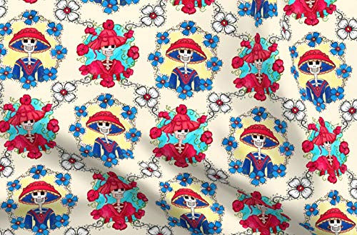 Spoonflower Skull Fabric - Mexican Catrina Floral Day of The Dead Folk Funny - by Dinorahaleatelier Printed on Cotton Poplin Ultra Fabric by The -