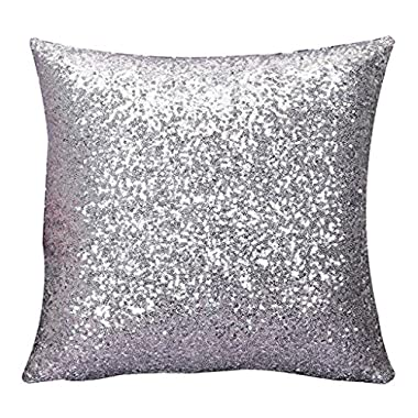 Home Decor Pillow, Gillberry Solid Color Glitter Sequins Throw Pillow Case Cafe Home Decor Cushion Covers (Silver)