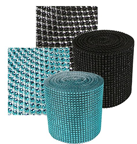 Turquoise/Teal & Black Rhinestone Sparkle Wrap Diamond Mesh Ribbon - Add that Elegant Touch At Your Wedding or Special Event - 10 Ft