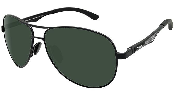 24246afbd84 LZXC Polarized Sunglasses for Men Outdoor Sport Eyewear Unbreakable  Ultra-Light Black Metal Frame HD Green Lens  Amazon.co.uk  Clothing