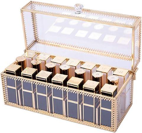 GFBVC Caja de Almacenamiento de cosméticos Metal Vidrio a Prueba de Polvo del lápiz Labial Almacenamiento de cosmética lápiz Labial Niña de Escritorio del Sistema de Acabado: Amazon.es: Hogar