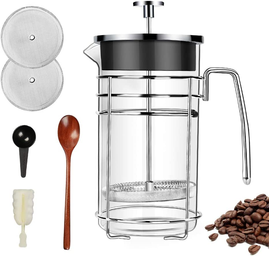 Barvest French Press Coffee Maker, Tea Maker, Large 8 cup 34oz With 4 Level Filtration System, 304 Stainless Steel Coffee Press, Durable Easy Clean Heat Resistant Borosilicate Glass – 100 BPA Free