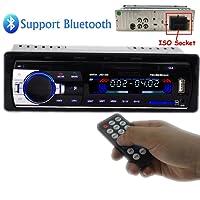 PolarLander Radio de voiture Audio USB / SD / Lecteur MP3 Récepteur Bluetooth mains libres avec télécommande Noir 1 Din