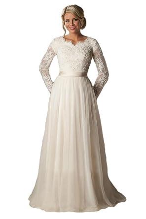 Graceprom Simple Elegant Long Sleeves Tulle Wedding Dress With ...