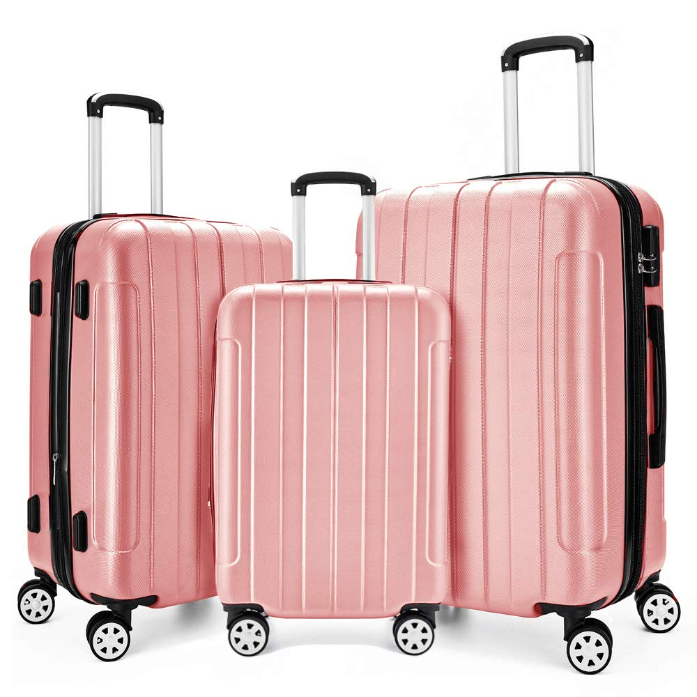 Fochier 3 Piece Expandable Spinner Luggage Set Hard Shell Lightweight Suitcase Rose Gold by FOCHIER F