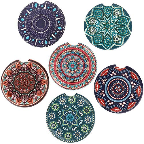 Pack of 6 Mandala Style Ceramic Car Absorbent Coasters Stone Auto Cup Holder Absorbent Coaster Set Convenient Finger Slot 2.56