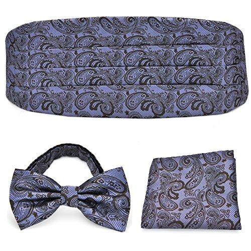 Cummerbund Lilac (PenSee Formal Lilac & Brown Paisley Pre-tied Bow Tie & Pocket Square & Cummerbund Set)