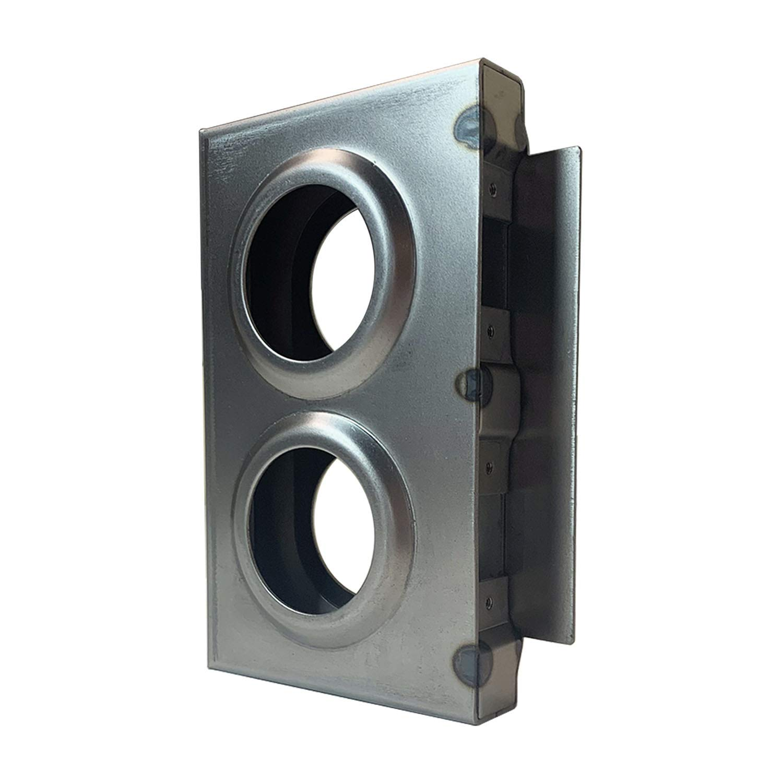 OASIS Gate Lock Box Double Hole 7-1/2'' x 4-1/2'' x 1'' Weldable Steel lockbox for Gate, Bubble Style Unpainted