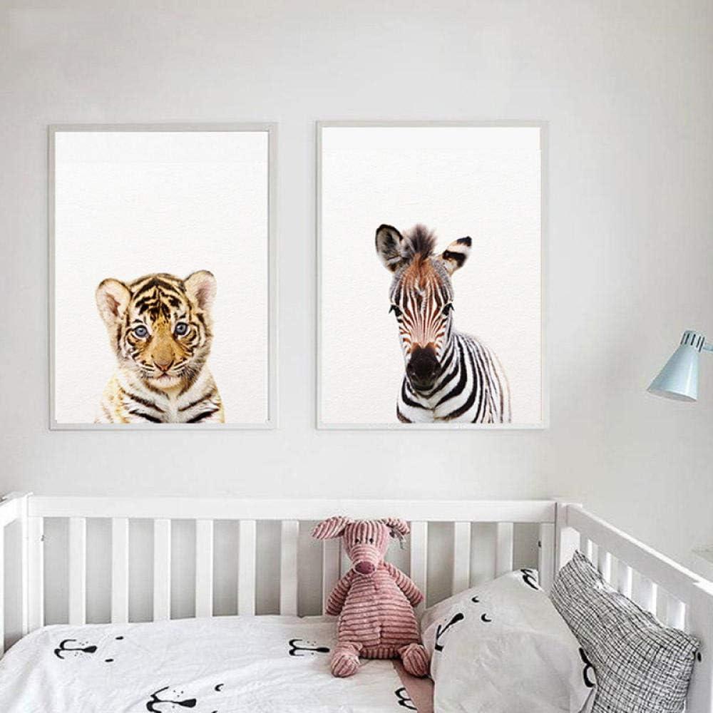 ZDFDC Cartoon Safari Animal Wall Art Toile Peinture P/épini/ère Affiches et Impressions Enfants Chambre de B/éb/é D/écoration Murale Photos-21x30cmx8 sans Cadre