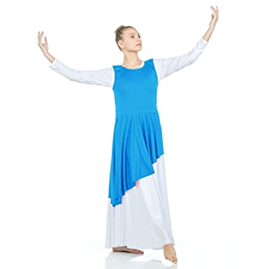 36b53c75dec5 Amazon.com: Danzcue Asymmetrical Praise Dance Tunic with Side Slits:  Clothing