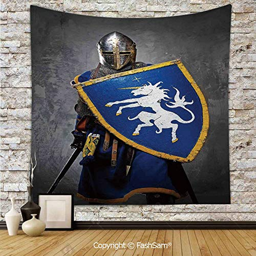 FashSam Polyester Tapestry Wall Medieval Knight Holding Shield and Sword Aged History Rusty Design Artwork Hanging Printed Home Decor(W51xL59) ()