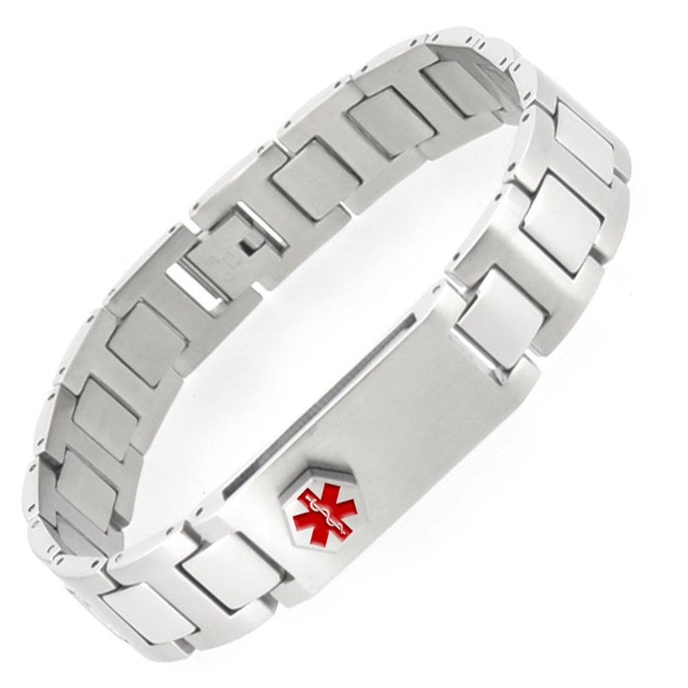 Ultra-Thin Medical Alert ID bracelet with 2 GB USB Stainless Steel