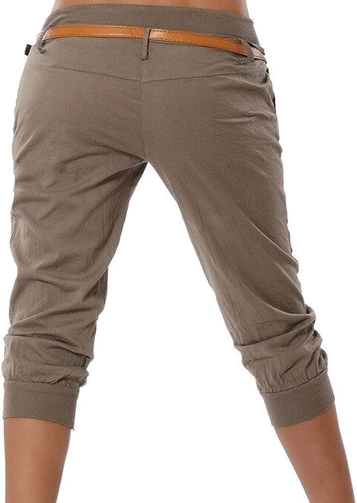 ORANDESIGNE Pantalons Femmes Ample Pantalon 3//4 Sarouel Pantalons Et/é Casual Shorts Boyfriend Yoga Sport Leggings Baggy Pantalons Pantacourt Bermudas