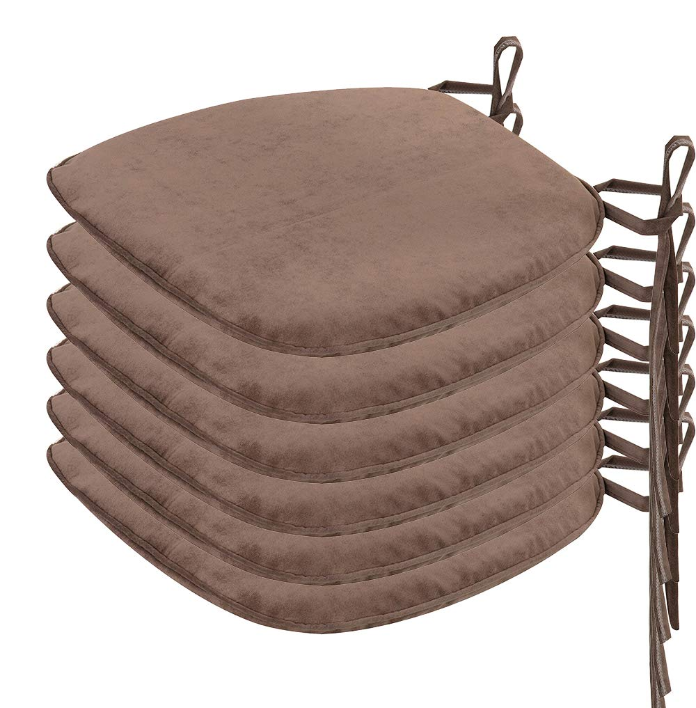 Nobildonna 6 Pack Brown 17'' x 16'' Memory Foam Chair Pad with Ties Kitchen Dining Home Décor