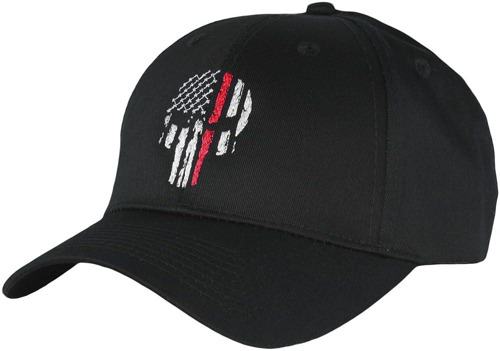 Thin Red Line Skull USA Flag Mid Profile Hat 6171BrU92qL