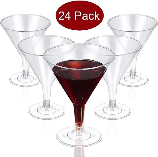 200 PLASTIC MARTINI GLASSES 7 oz!!! Disposable Wedding Party NEW!!!